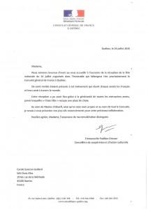Lettre du Consulat de Québec