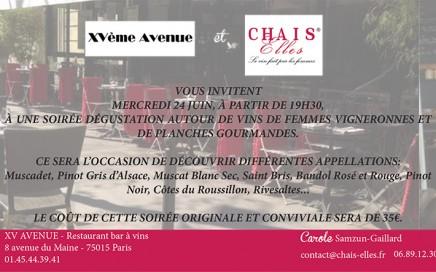 soirée dégustation Chais Elles et XV Avenue