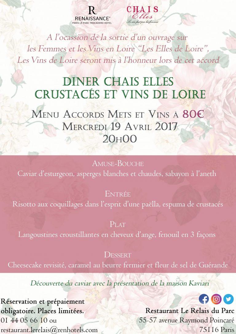 Menu Dîner Chais Elles-19 avril 2017