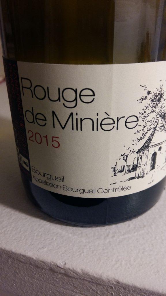 Rouge de Minière 2015  Bourgueil  Château de Minière