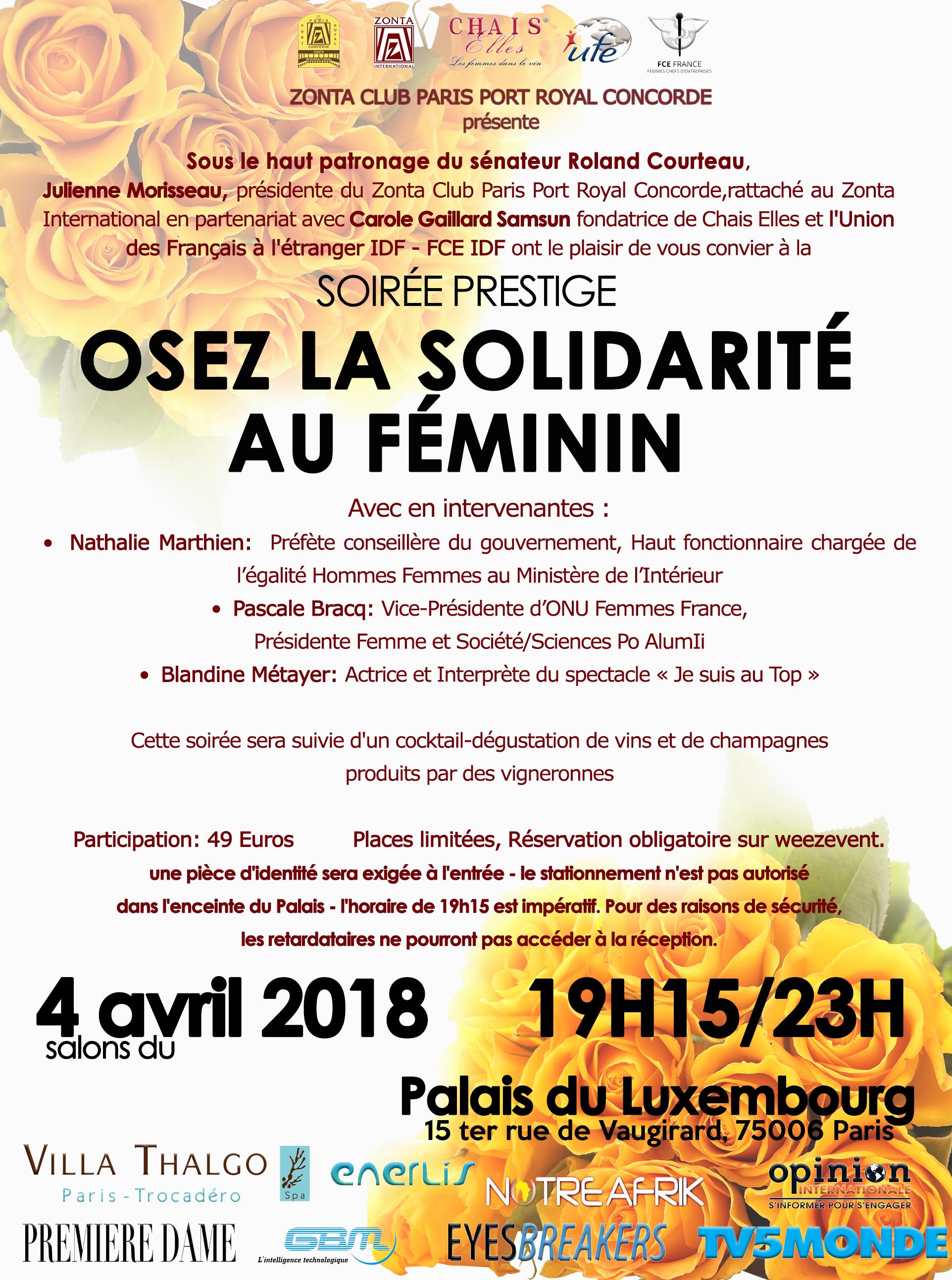 """Soirée prestige """"Osez la solidarité au féminin"""""""